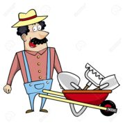 Cartoon of landscaper and tools
